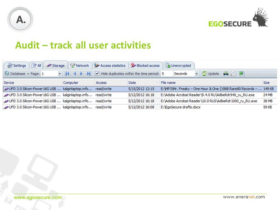 www.eneranet.com Audit – track all user activities