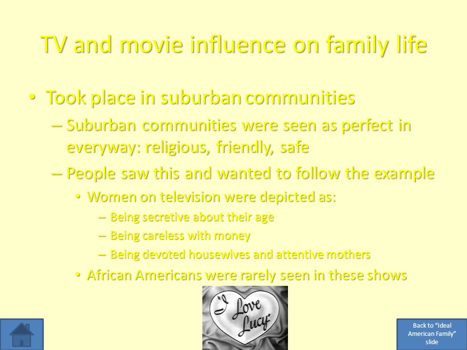TV and movie influence on family life Took place in suburban communities Took place in suburban communities – Suburban communities were seen as perfect in everyway: religious, friendly, safe – People saw this and wanted to follow the example Women on television were depicted as: Women on television were depicted as: – Being secretive about their age – Being careless with money – Being devoted housewives and attentive mothers African Americans were rarely seen in these shows African Americans were rarely seen in these shows Back to Ideal American Family slide