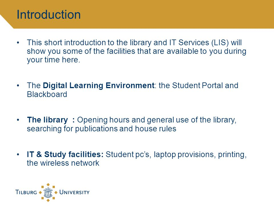 This short introduction to the library and IT Services (LIS) will show you some of the facilities that are available to you during your time here.