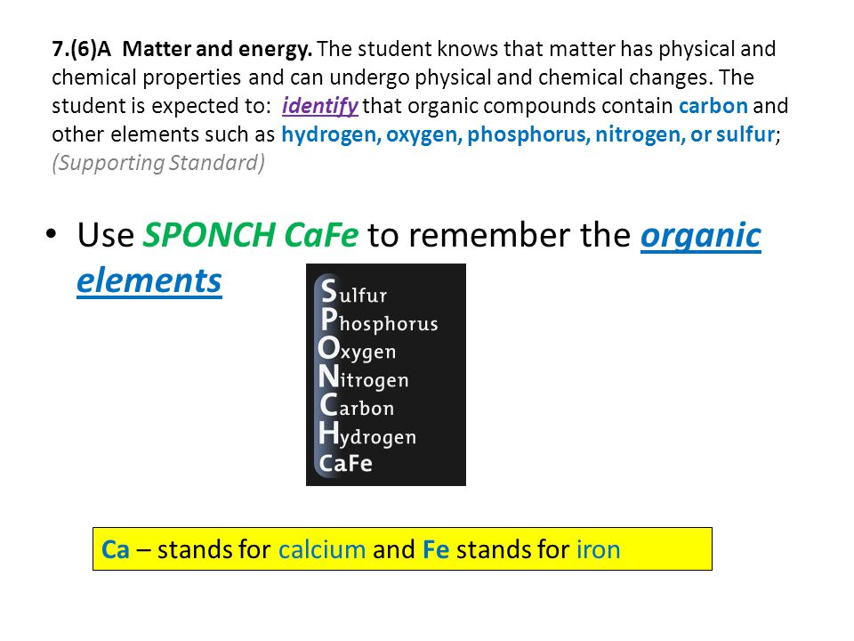 Use SPONCH CaFe to remember the organic elements Ca – stands for calcium and Fe stands for iron