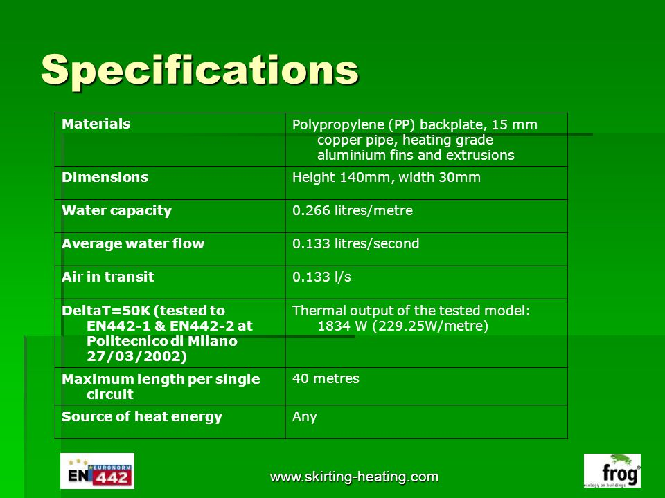www.skirting-heating.com Specifications MaterialsPolypropylene (PP) backplate, 15 mm copper pipe, heating grade aluminium fins and extrusions Dimensio