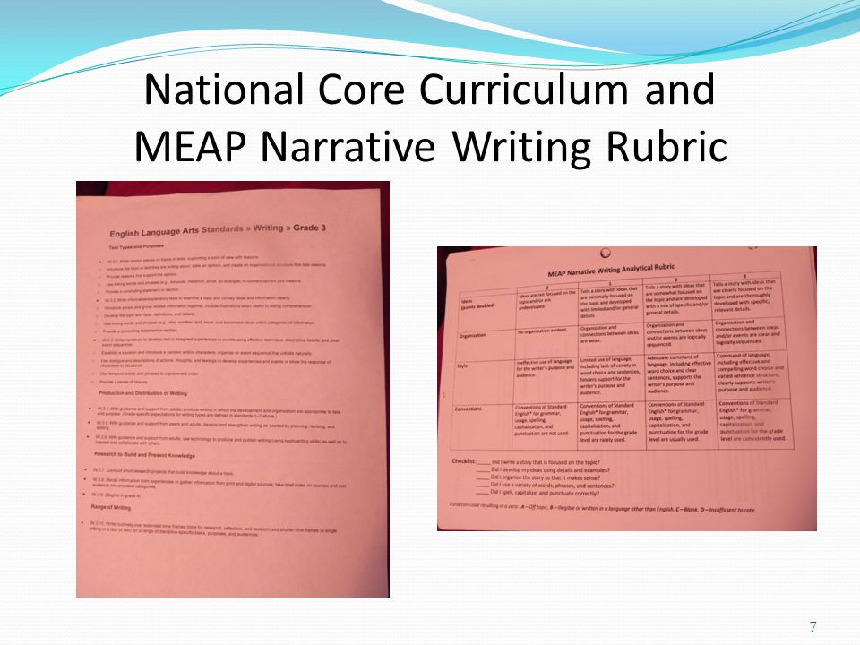 * Grade Level Content Expectations *National Core Curriculum *Northview Curriculum Map for Third Grade *October MEAP *District writing prompt 6