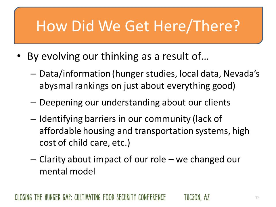 How Did We Get Here/There? By evolving our thinking as a result of… – Data/information (hunger studies, local data, Nevadas abysmal rankings on just a