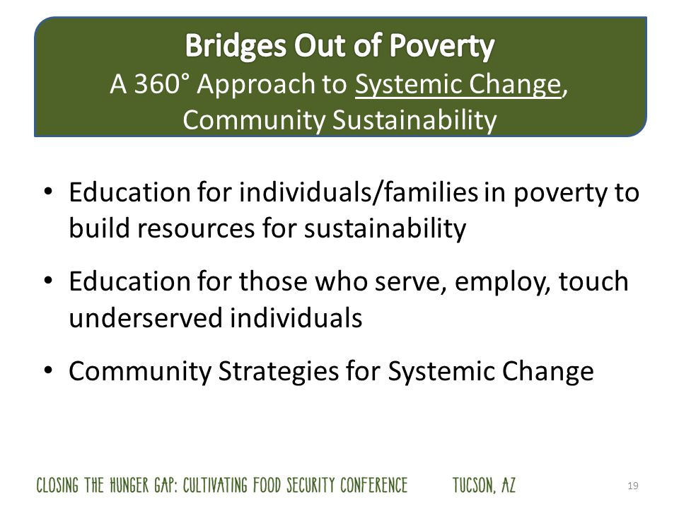 19 Education for individuals/families in poverty to build resources for sustainability Education for those who serve, employ, touch underserved indivi