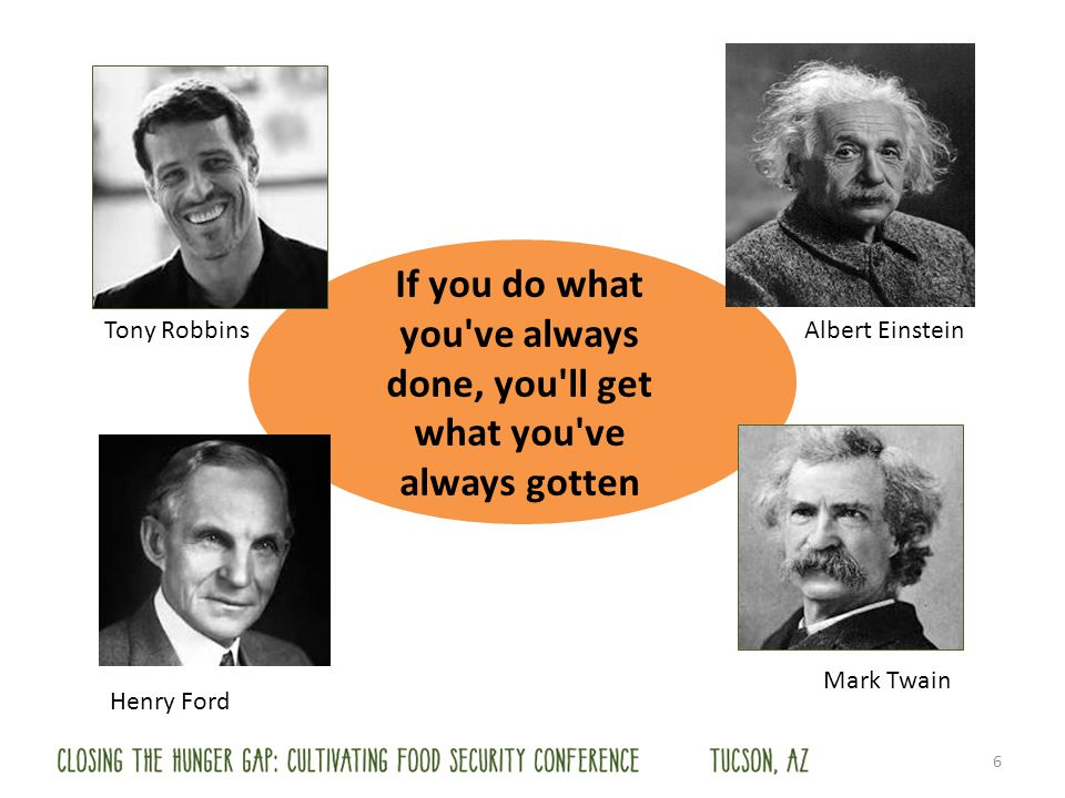 If you do what you've always done, you'll get what you've always gotten Henry Ford Tony Robbins Mark Twain Albert Einstein 6