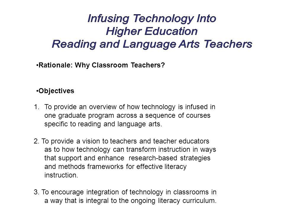 Rationale: Why Classroom Teachers? Objectives 1.To provide an overview of how technology is infused in one graduate program across a sequence of cours
