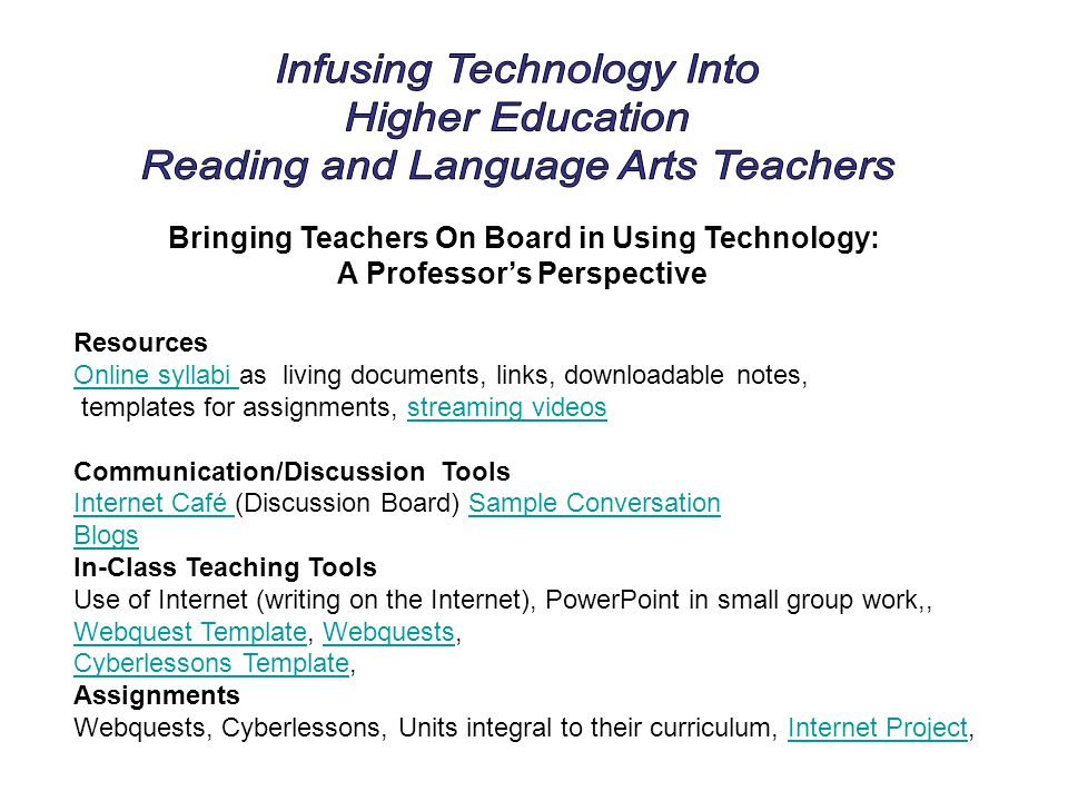 Bringing Teachers On Board in Using Technology: A Professors Perspective Resources Online syllabi Online syllabi as living documents, links, downloada