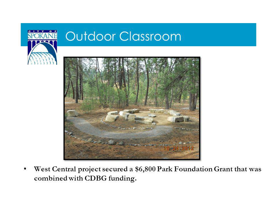Outdoor Classroom West Central project secured a $6,800 Park Foundation Grant that was combined with CDBG funding.