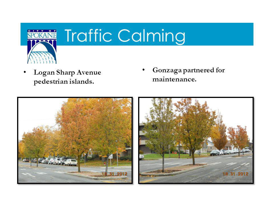 Traffic Calming Logan Sharp Avenue pedestrian islands. Gonzaga partnered for maintenance.