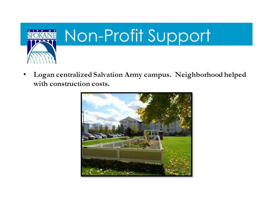 Non-Profit Support Logan centralized Salvation Army campus.