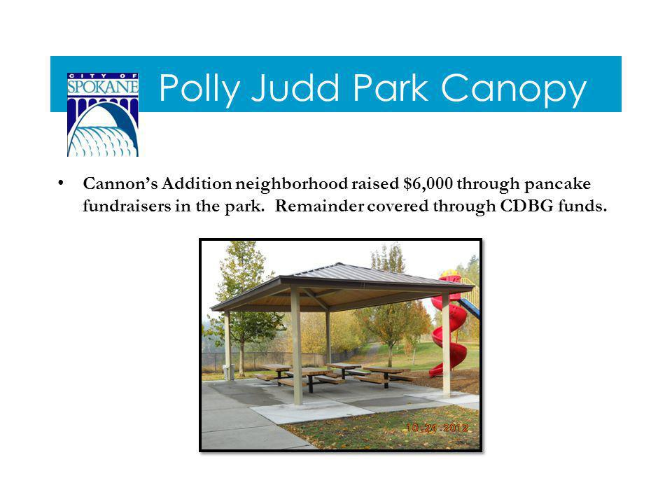 Polly Judd Park Canopy Cannons Addition neighborhood raised $6,000 through pancake fundraisers in the park.