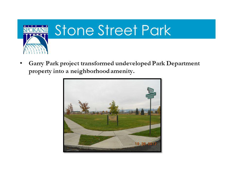 Stone Street Park Garry Park project transformed undeveloped Park Department property into a neighborhood amenity.