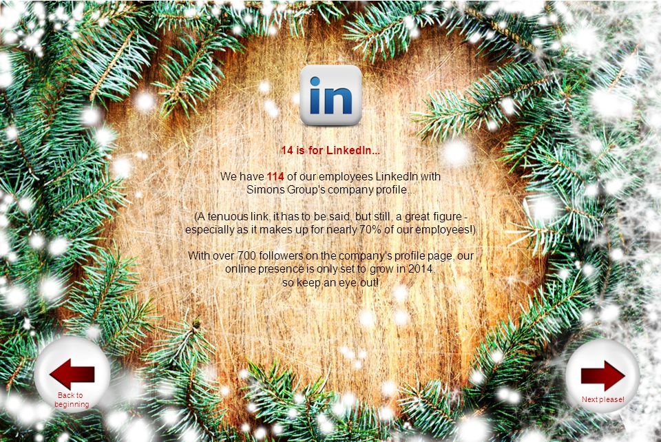 14 is for LinkedIn... We have 114 of our employees LinkedIn with Simons Group's company profile... (A tenuous link, it has to be said, but still, a gr