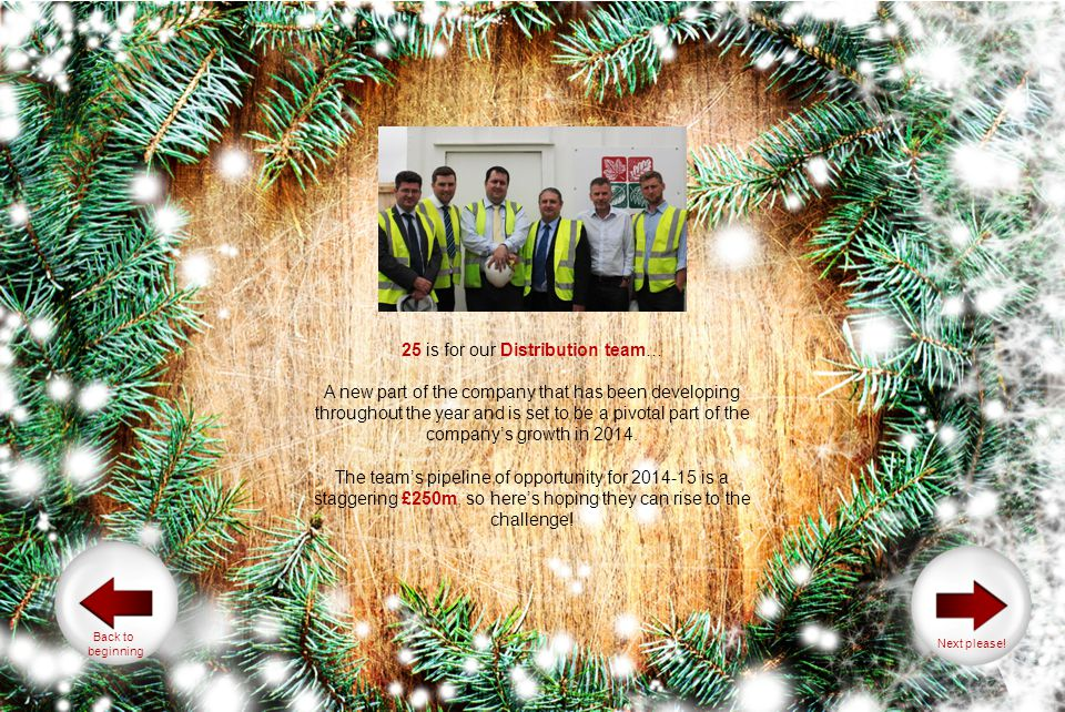 25 is for our Distribution team… A new part of the company that has been developing throughout the year and is set to be a pivotal part of the companys growth in 2014.