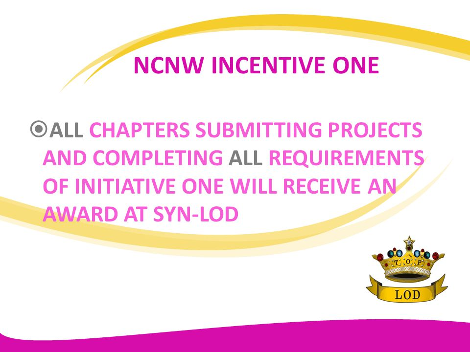 NATIONAL INITIATIVE TWO TLOD TO PARTNER WITH NCNW FOR NATIONAL MEMBERSHIP – 200 LADIES TO JOIN NCNW – 200 TEENS TO JOIN NCNW – LADIES SPONSOR TOP TEENS MEMBERSHIP FOR $2.00 BEFORE MAY 2012 CHAPTERS TO PROVIDE NATIONAL CHAIR NAMES OF NEW MEMBERS