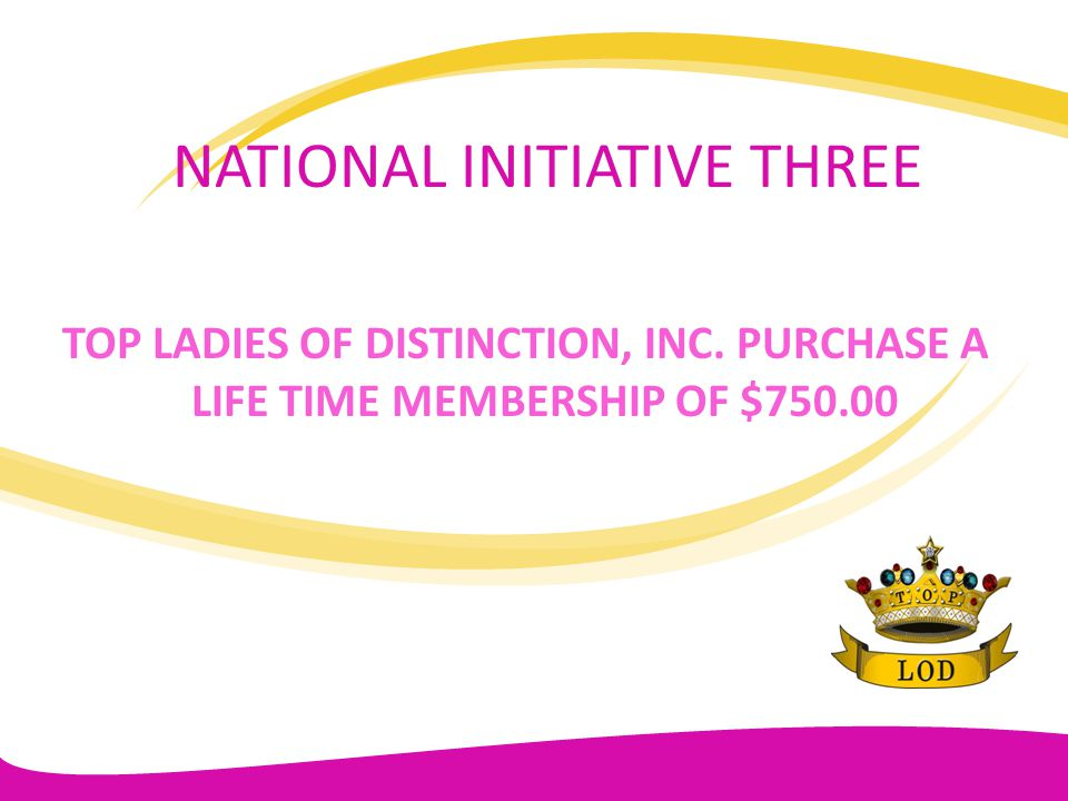 GOALS AND OBJECTIVES FOR 2011-2013 ACTION/GOALS RESULTS Each TLOD chapter contribute to the nationally mandated $50.00 as part of the April 1 st financial report; Implement at least one NAACP activity annually.