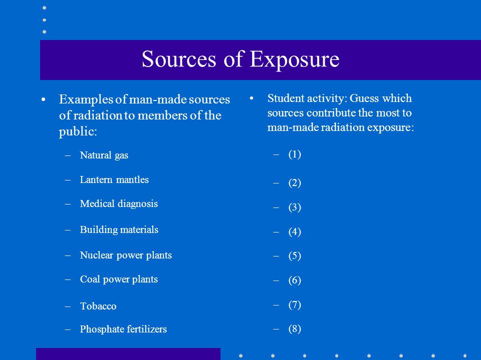 Sources of Exposure Examples of man-made sources of radiation to members of the public: –Natural gas –Lantern mantles –Medical diagnosis –Building materials –Nuclear power plants –Coal power plants –Tobacco –Phosphate fertilizers Student activity: Guess which sources contribute the most to man-made radiation exposure: –(1) –(2) –(3) –(4) –(5) –(6) –(7) –(8)
