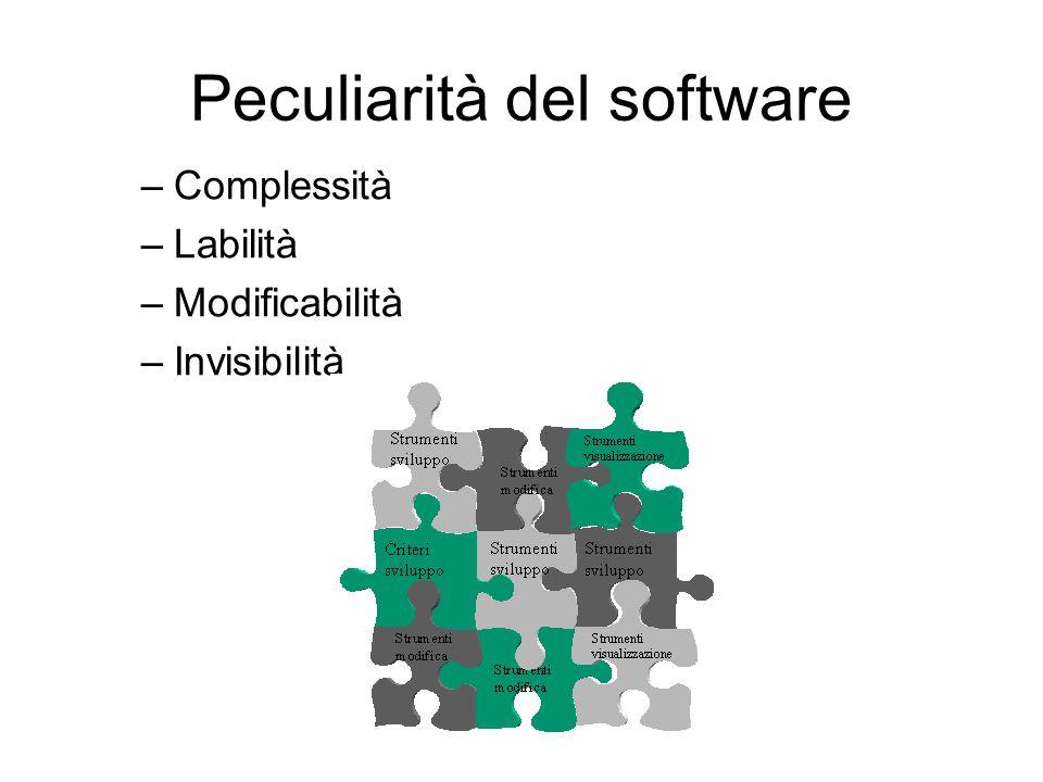 Peculiarità del software –Complessità –Labilità –Modificabilità –Invisibilità