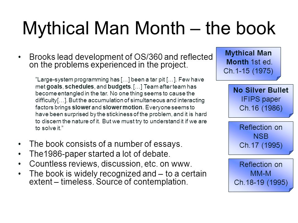 Mythical Man Month – the book Brooks lead development of OS/360 and reflected on the problems experienced in the project. The book consists of a numbe