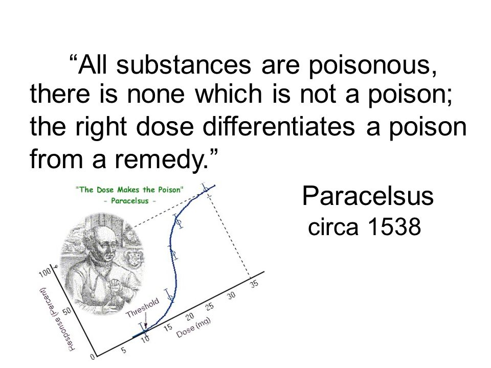 All substances are poisonous, there is none which is not a poison; the right dose differentiates a poison from a remedy.
