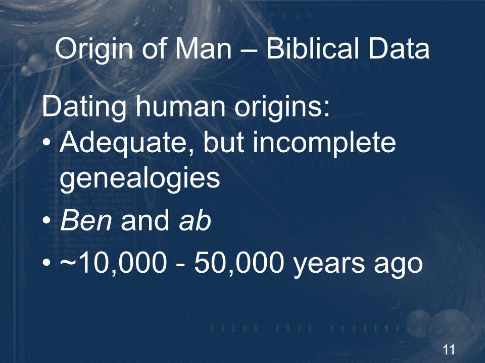 11 Origin of Man – Biblical Data Adequate, but incomplete genealogies Ben and ab ~10,000 - 50,000 years ago Dating human origins: