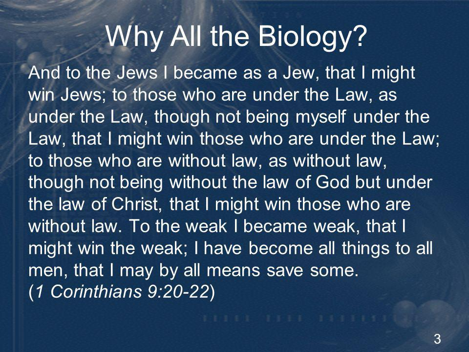 3 Why All the Biology? And to the Jews I became as a Jew, that I might win Jews; to those who are under the Law, as under the Law, though not being my
