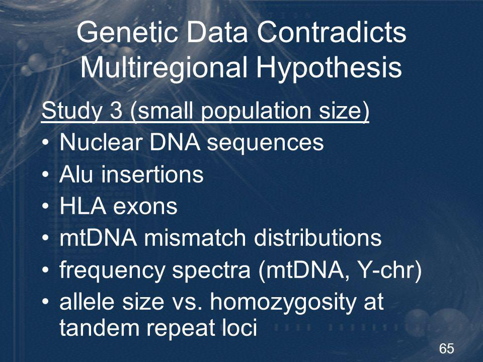 65 Genetic Data Contradicts Multiregional Hypothesis Study 3 (small population size) Nuclear DNA sequences Alu insertions HLA exons mtDNA mismatch dis