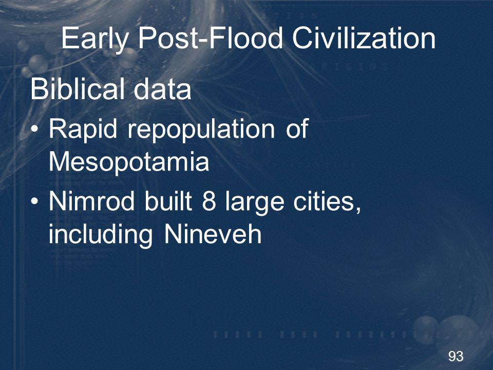 93 Early Post-Flood Civilization Rapid repopulation of Mesopotamia Nimrod built 8 large cities, including Nineveh Biblical data