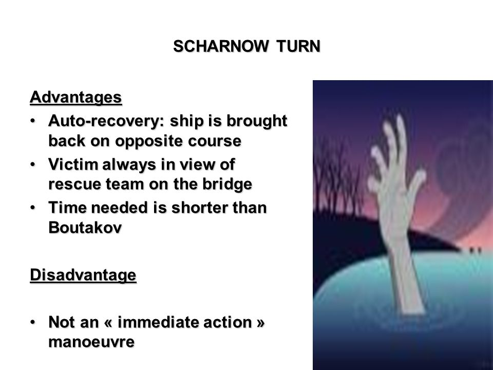 SCHARNOW TURN Advantages Auto-recovery: ship is brought back on opposite courseAuto-recovery: ship is brought back on opposite course Victim always in