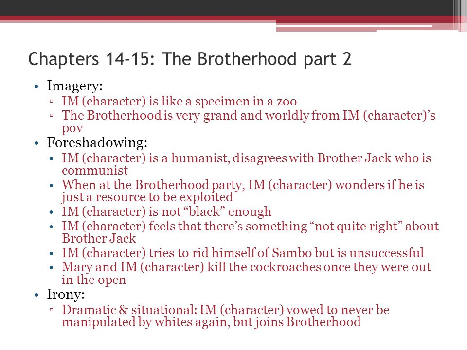 Imagery: IM (character) is like a specimen in a zoo The Brotherhood is very grand and worldly from IM (character)s pov Foreshadowing: IM (character) i