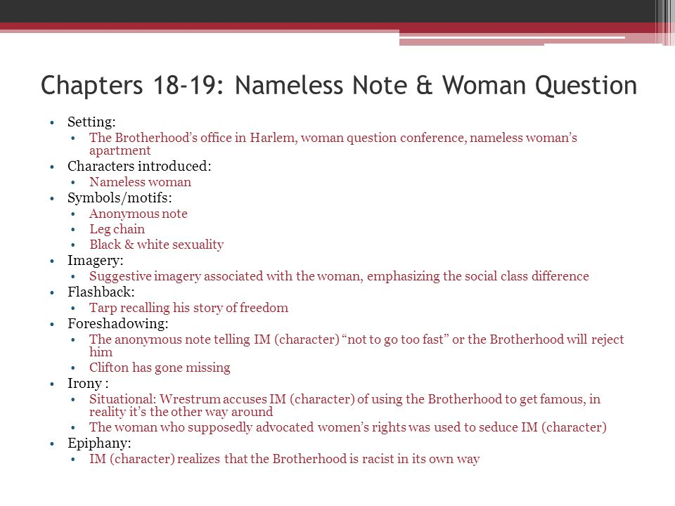 Chapters 18-19: Nameless Note & Woman Question Setting: The Brotherhoods office in Harlem, woman question conference, nameless womans apartment Charac