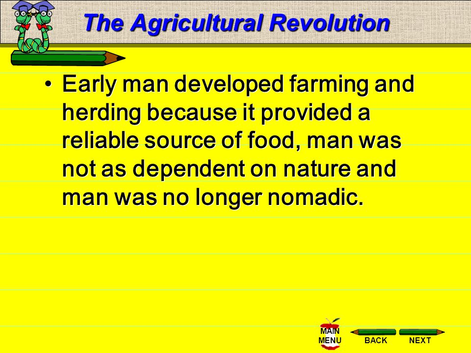NEXTBACK MAIN MENU The Agricultural Revolution One reason people migrated from place to place was the search of food.