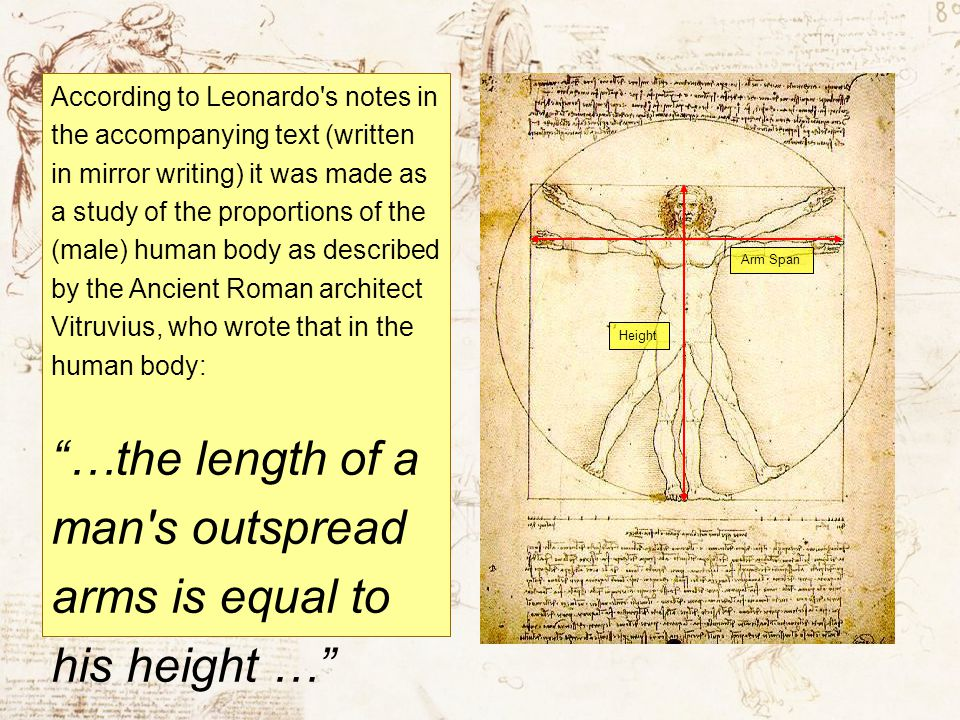 According to Leonardo's notes in the accompanying text (written in mirror writing) it was made as a study of the proportions of the (male) human body