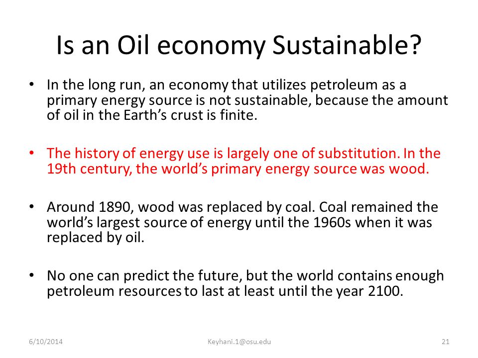 Is an Oil economy Sustainable.