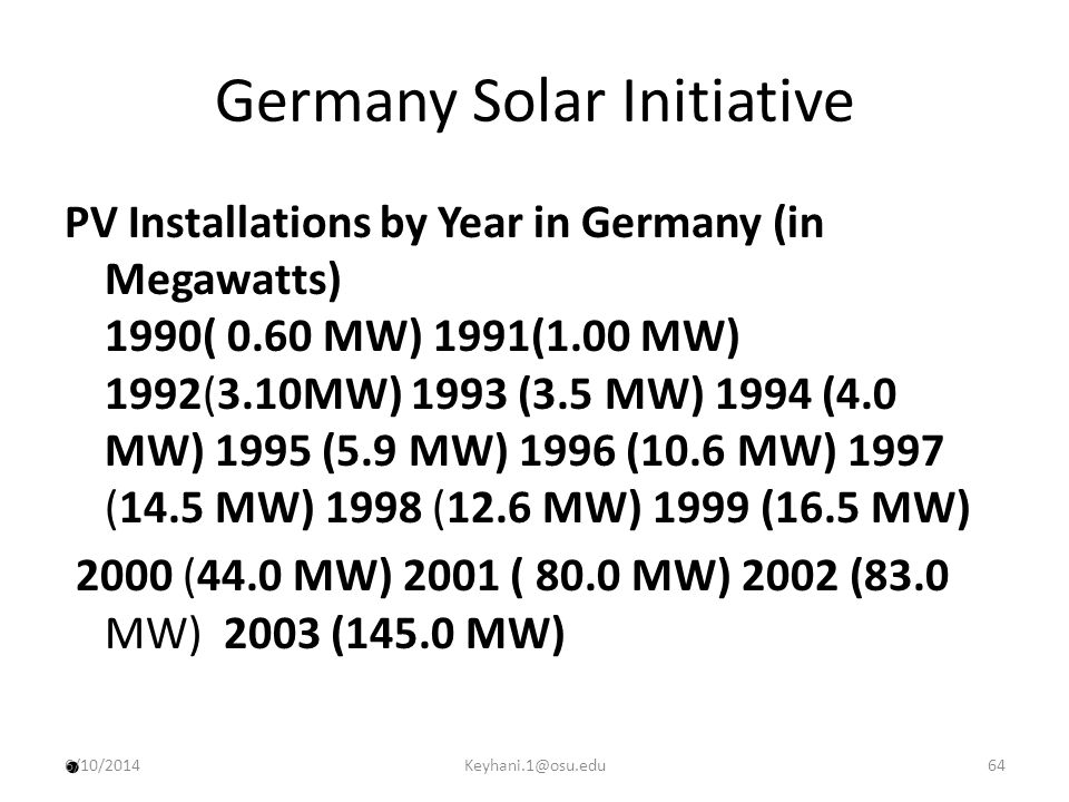 Germany Solar Initiative PV Installations by Year in Germany (in Megawatts) 1990( 0.60 MW) 1991(1.00 MW) 1992(3.10MW) 1993 (3.5 MW) 1994 (4.0 MW) 1995 (5.9 MW) 1996 (10.6 MW) 1997 (14.5 MW) 1998 (12.6 MW) 1999 (16.5 MW) 2000 (44.0 MW) 2001 ( 80.0 MW) 2002 (83.0 MW) 2003 (145.0 MW) 6/10/201464Keyhani.1@osu.edu