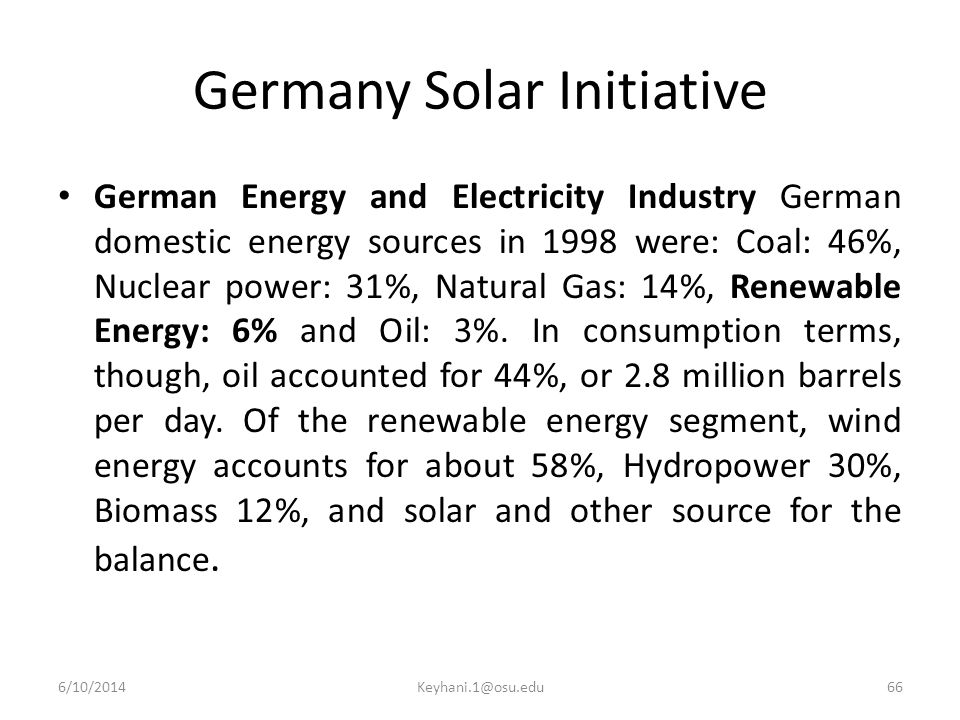 Germany Solar Initiative German Energy and Electricity Industry German domestic energy sources in 1998 were: Coal: 46%, Nuclear power: 31%, Natural Gas: 14%, Renewable Energy: 6% and Oil: 3%.