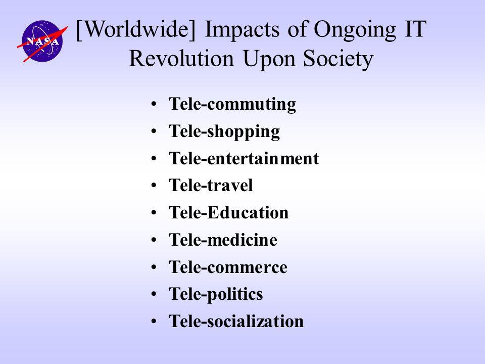 [Worldwide] Impacts of Ongoing IT Revolution Upon Society Tele-commuting Tele-shopping Tele-entertainment Tele-travel Tele-Education Tele-medicine Tel