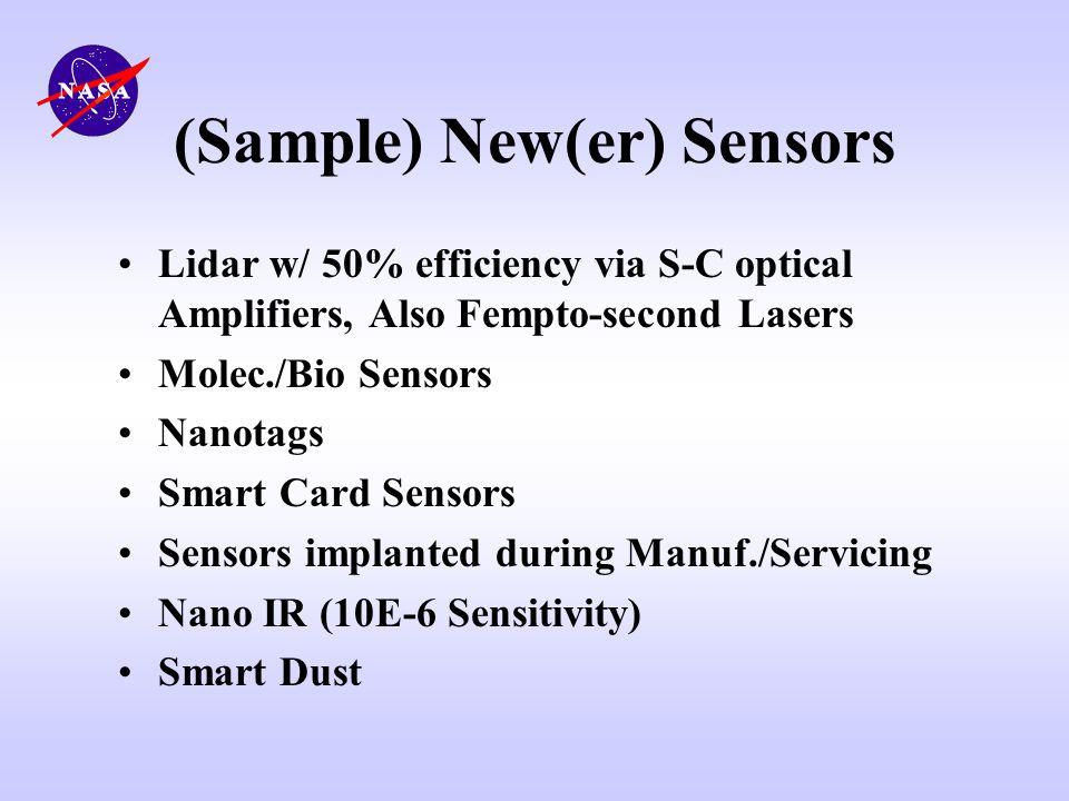(Sample) New(er) Sensors Lidar w/ 50% efficiency via S-C optical Amplifiers, Also Fempto-second Lasers Molec./Bio Sensors Nanotags Smart Card Sensors