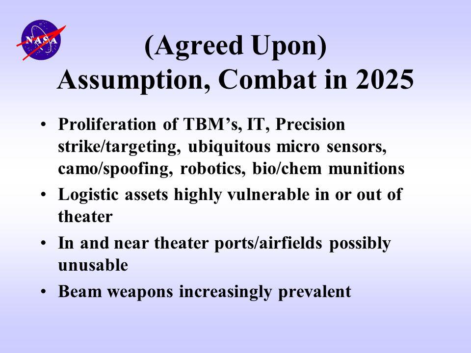 (Agreed Upon) Assumption, Combat in 2025 Proliferation of TBMs, IT, Precision strike/targeting, ubiquitous micro sensors, camo/spoofing, robotics, bio