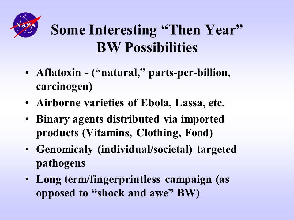 Some Interesting Then Year BW Possibilities Aflatoxin - (natural, parts-per-billion, carcinogen) Airborne varieties of Ebola, Lassa, etc. Binary agent