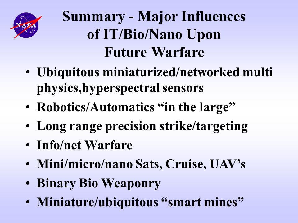 Summary - Major Influences of IT/Bio/Nano Upon Future Warfare Ubiquitous miniaturized/networked multi physics,hyperspectral sensors Robotics/Automatic