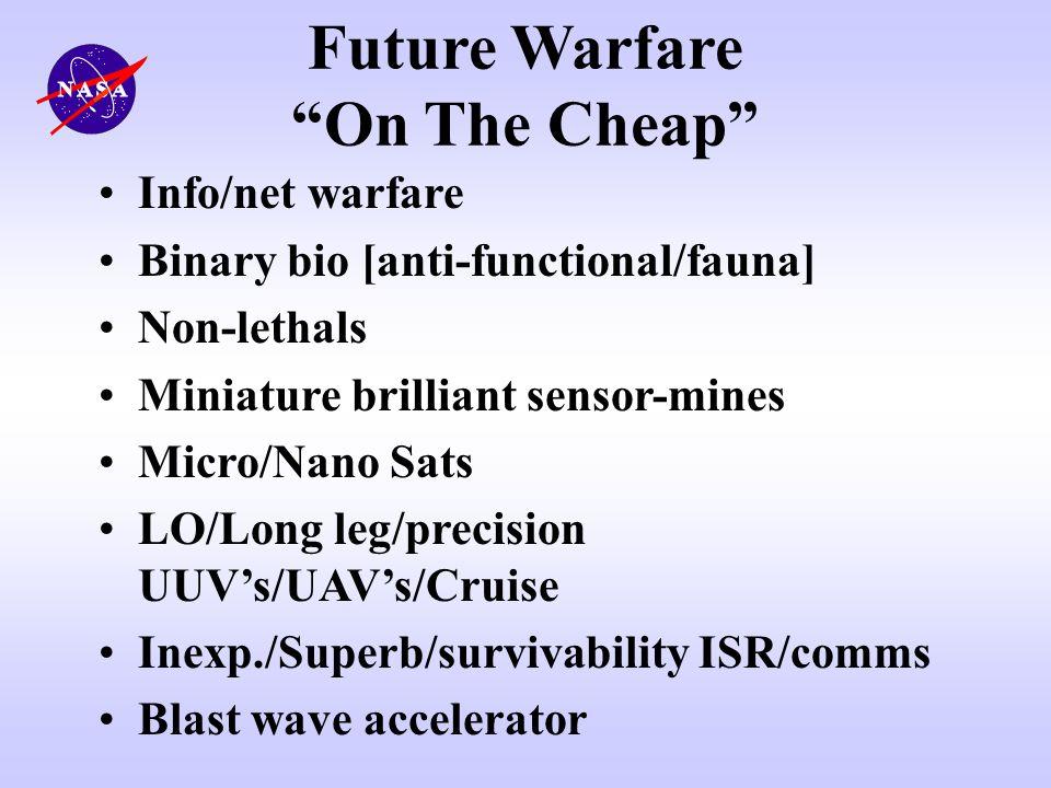 Future Warfare On The Cheap Info/net warfare Binary bio [anti-functional/fauna] Non-lethals Miniature brilliant sensor-mines Micro/Nano Sats LO/Long l