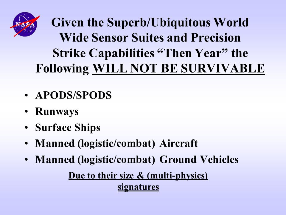 Given the Superb/Ubiquitous World Wide Sensor Suites and Precision Strike Capabilities Then Year the Following WILL NOT BE SURVIVABLE APODS/SPODS Runw