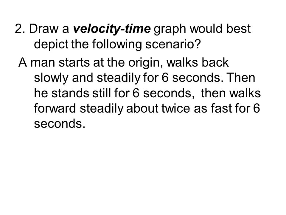 2. Draw a velocity-time graph would best depict the following scenario? A man starts at the origin, walks back slowly and steadily for 6 seconds. Then
