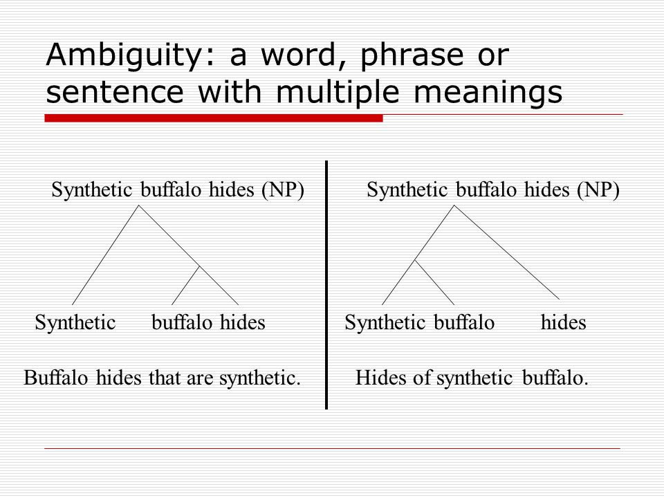 Ambiguity: a word, phrase or sentence with multiple meanings Synthetic buffalo hides (NP) Synthetic buffalo hides Buffalo hides that are synthetic.Hid