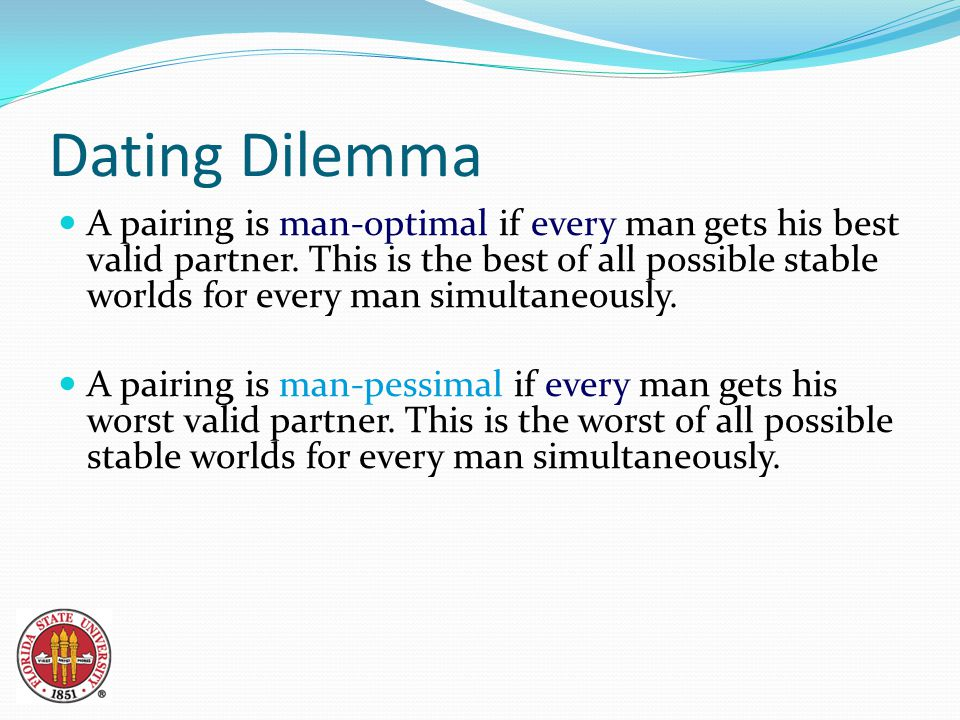 Dating Dilemma A pairing is man-optimal if every man gets his best valid partner.