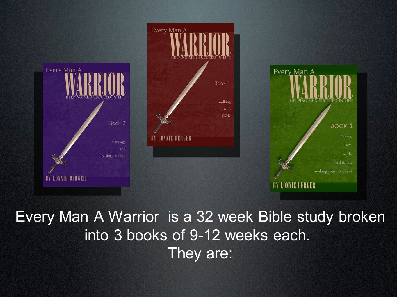 Walking With God The first nine lessons of Every Man A Warrior develop the essential skills of discipleship.