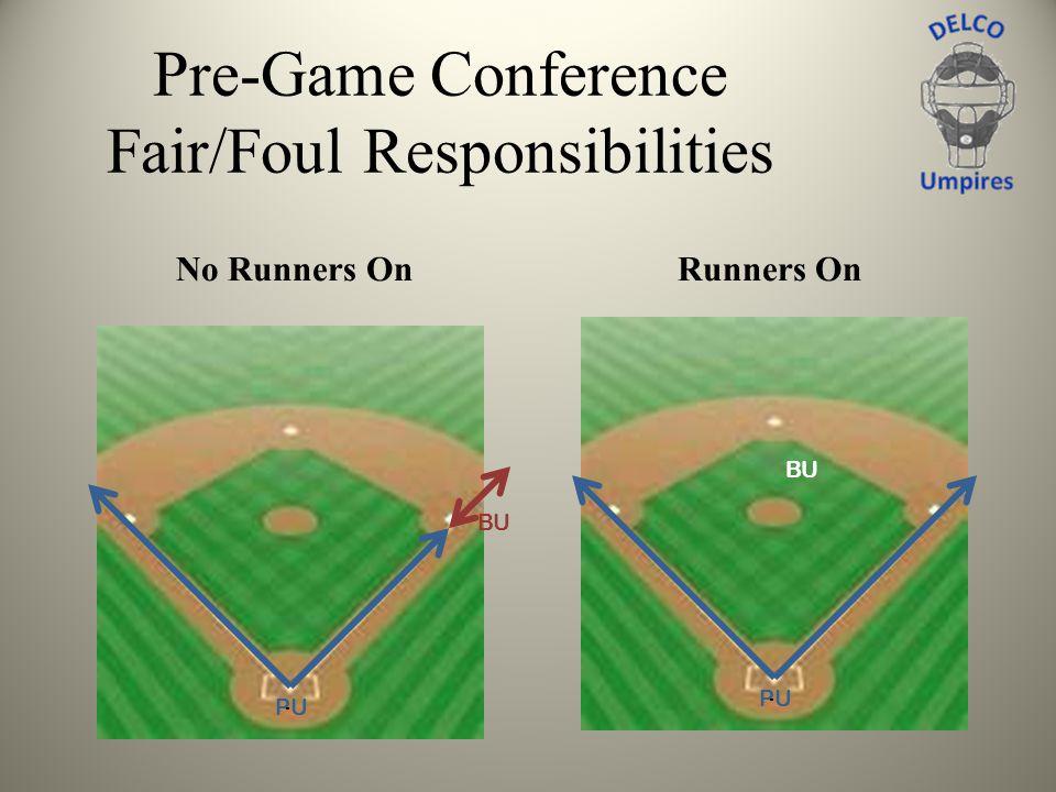 Pre-Game Conference Fair/Foul Responsibilities No Runners OnRunners On CB PU BU CB PU BU