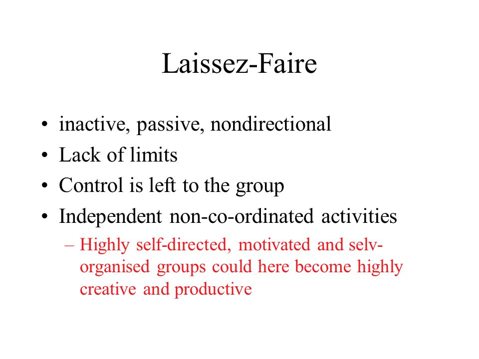 Democratic style Participative and less controlling Control is shared by the group Stimulation and quidance instead of commands Group responsiblity fo