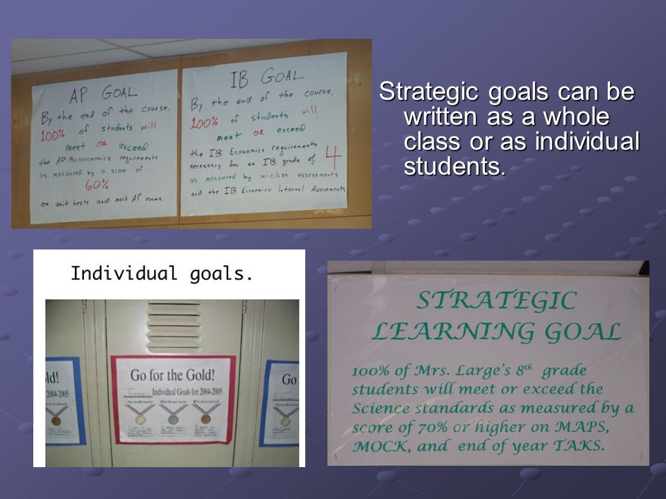 Strategic goals can be written as a whole class or as individual students.